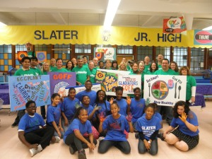 The whole group! Slater Service Corps members and Fidelity Investments volunteers