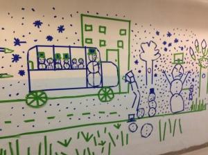 Tape art at Goff Junior High School (Pawtucket, RI)